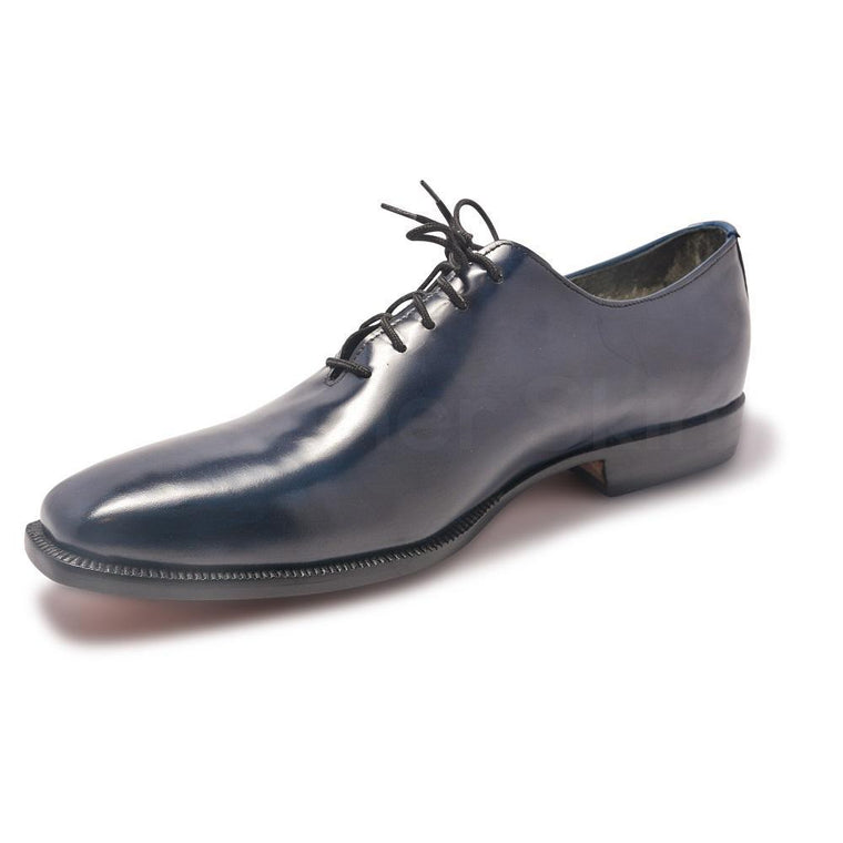 Men Navy Blue Genuine Leather Shoes with Black Laces