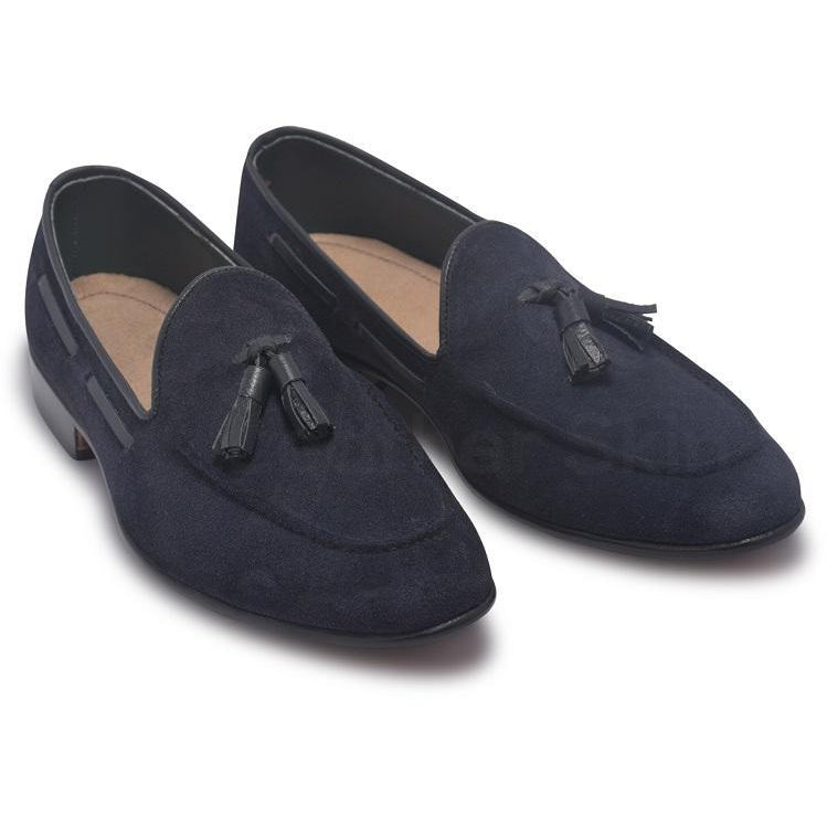 Men Blue Loafer Tassel Suede Leather Shoes