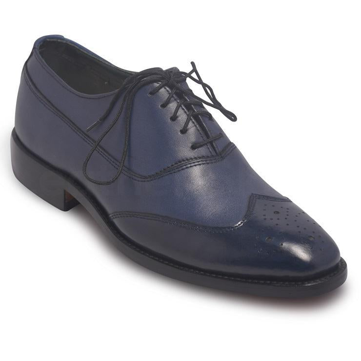 Men Oxford Blue Two-Tone Leather Shoes with Brogue Wingtip