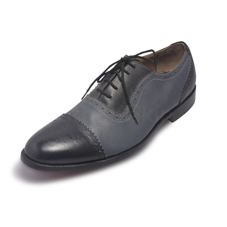 Men Oxford Brogue Cap Toe Two Tone Genuine Leather Shoes