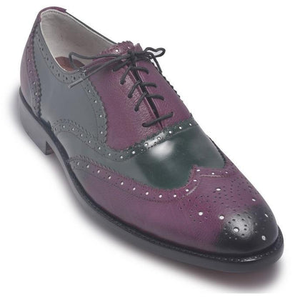 Two Tone Purple Leather Shoes