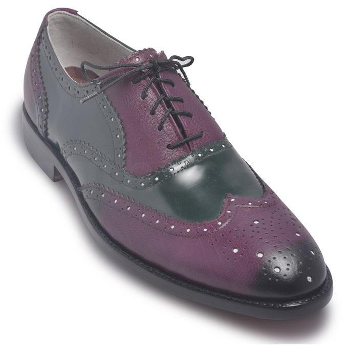 Men Oxford Two Tone Brogue Wingtip Purple Black Leather Shoe