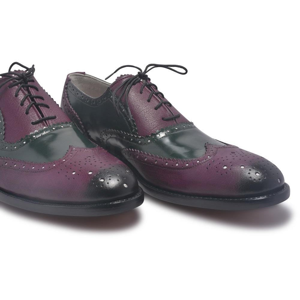 Purple Leather Shoes with wingtip