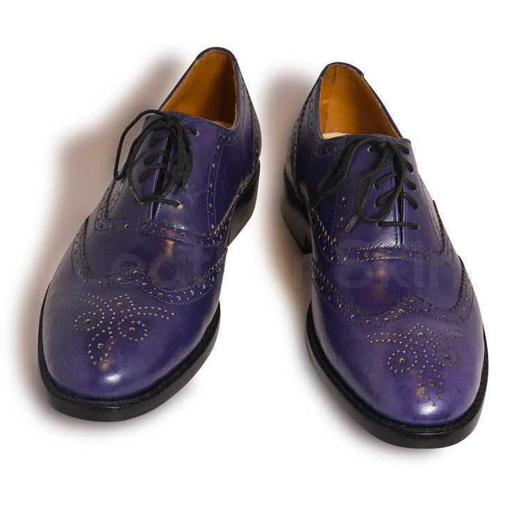 Men Purple Oxford Wingtip Brogue Leather Shoes with Laces