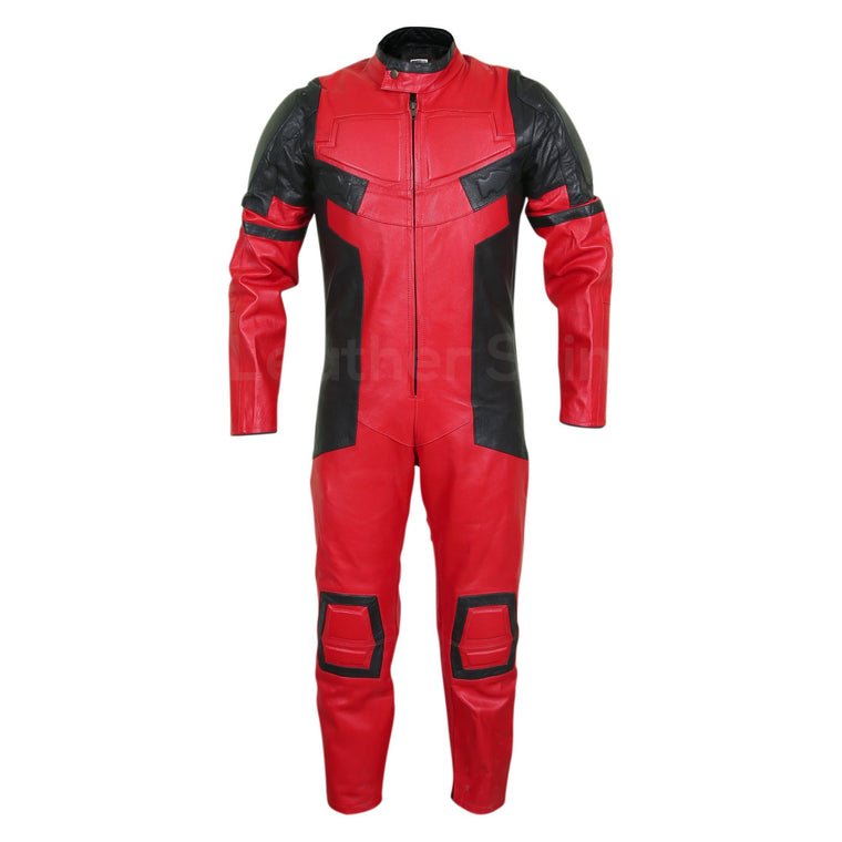 Men Red Black Motorcycle Padded Genuine Leather Suit