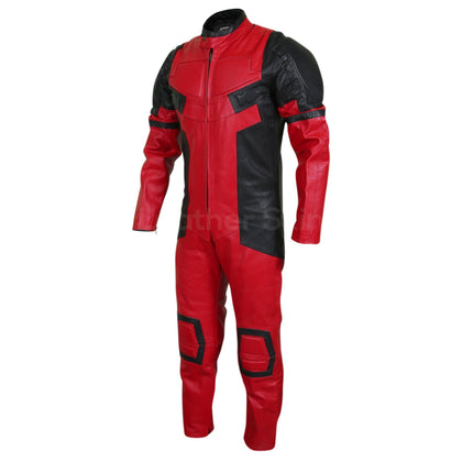 red motorcycle leather suit mens
