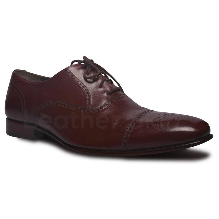 Men Red Brogue Handmade Genuine Leather Shoes
