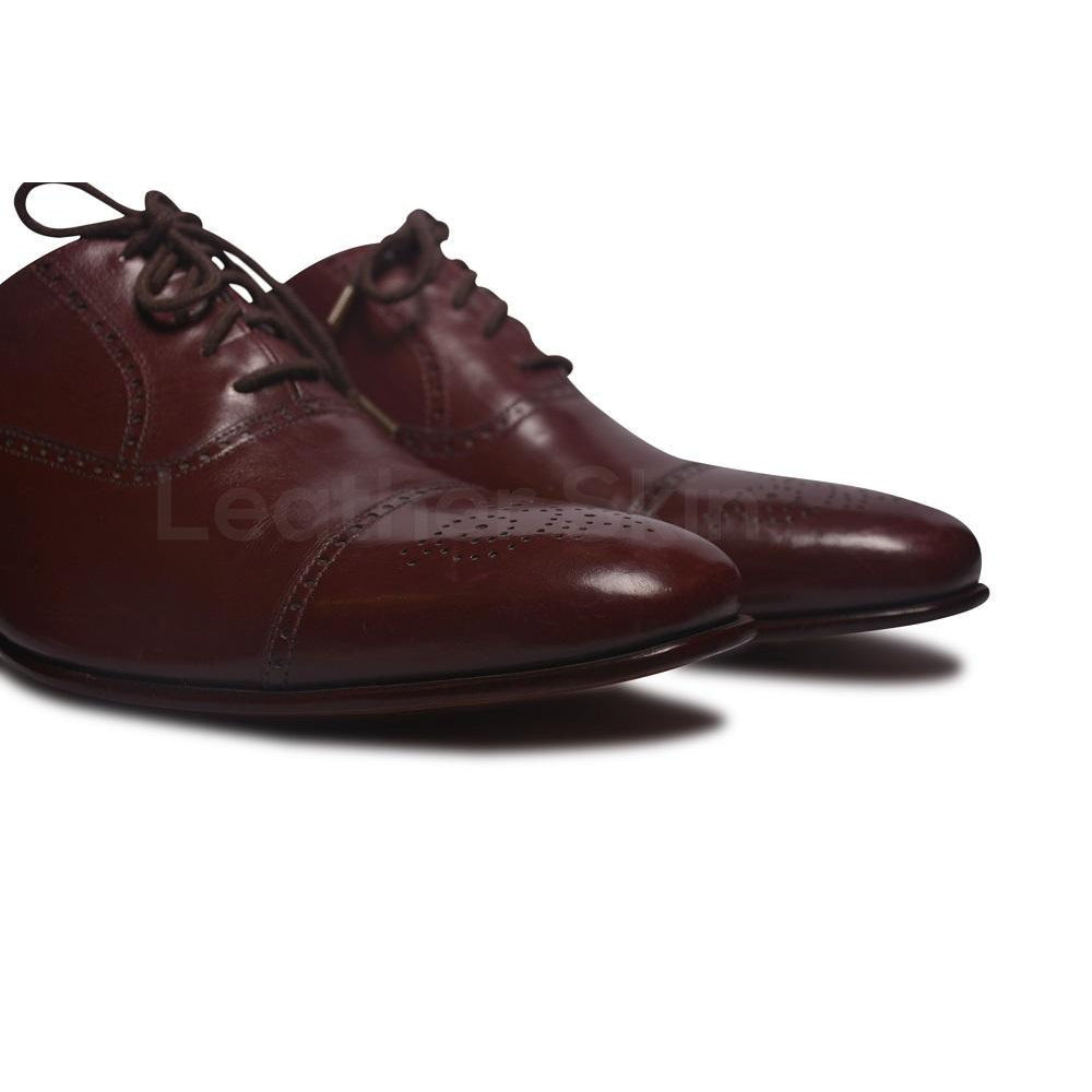 Men Oxford Red Leather Shoes