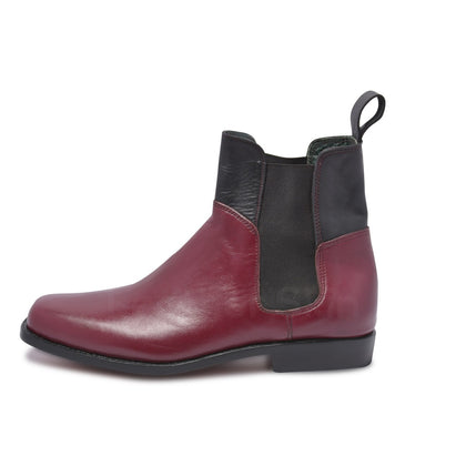 red Chelsea boots with black elastic
