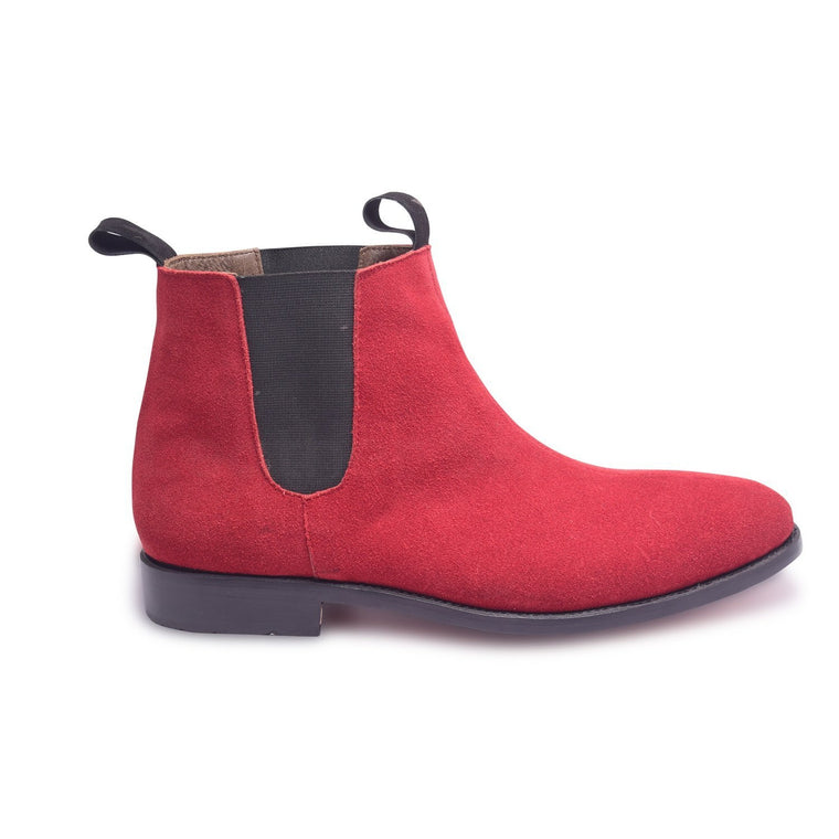Men Red Chelsea Suede Leather Boots with Black Stretch