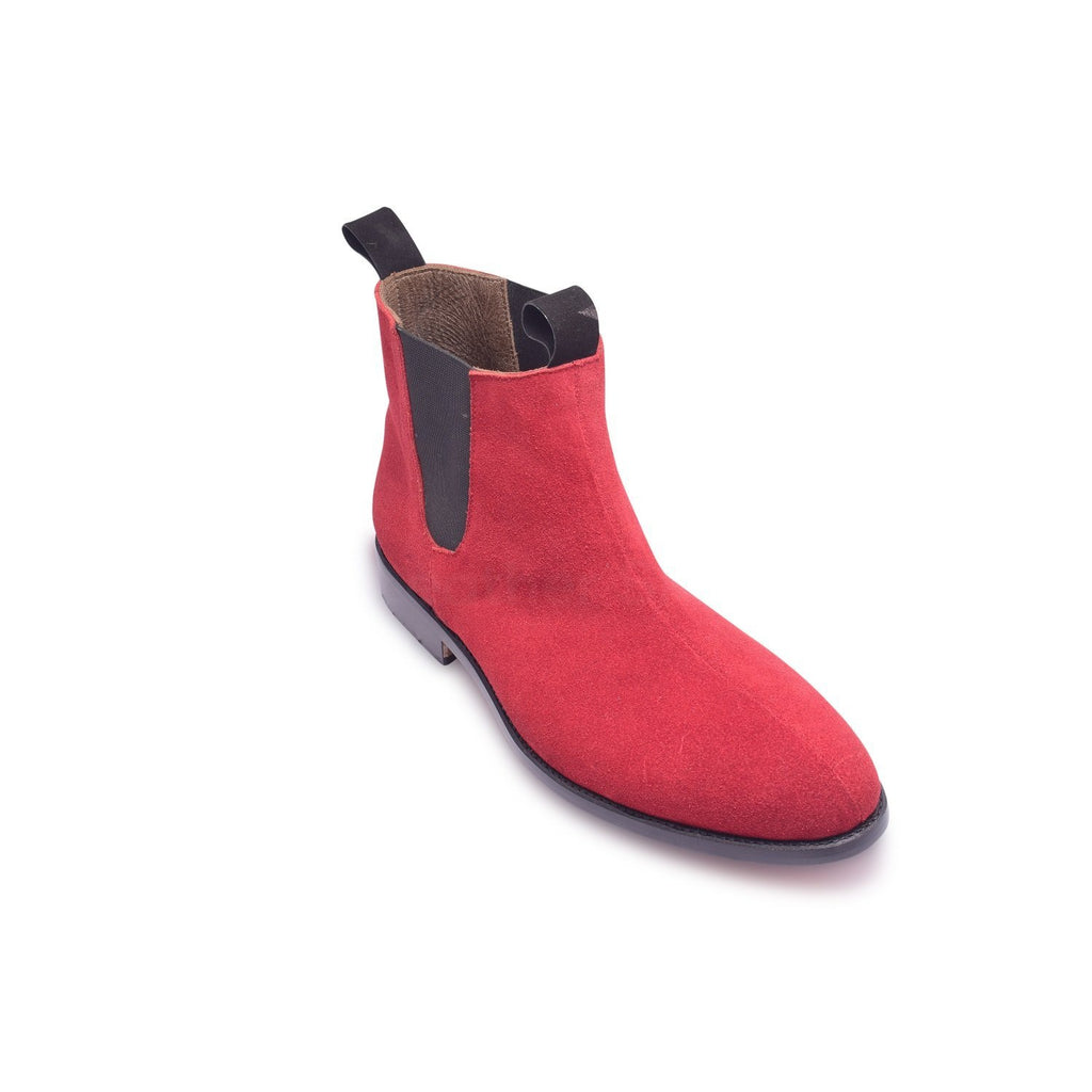 Chelsea Suede Red Leather Boots Men