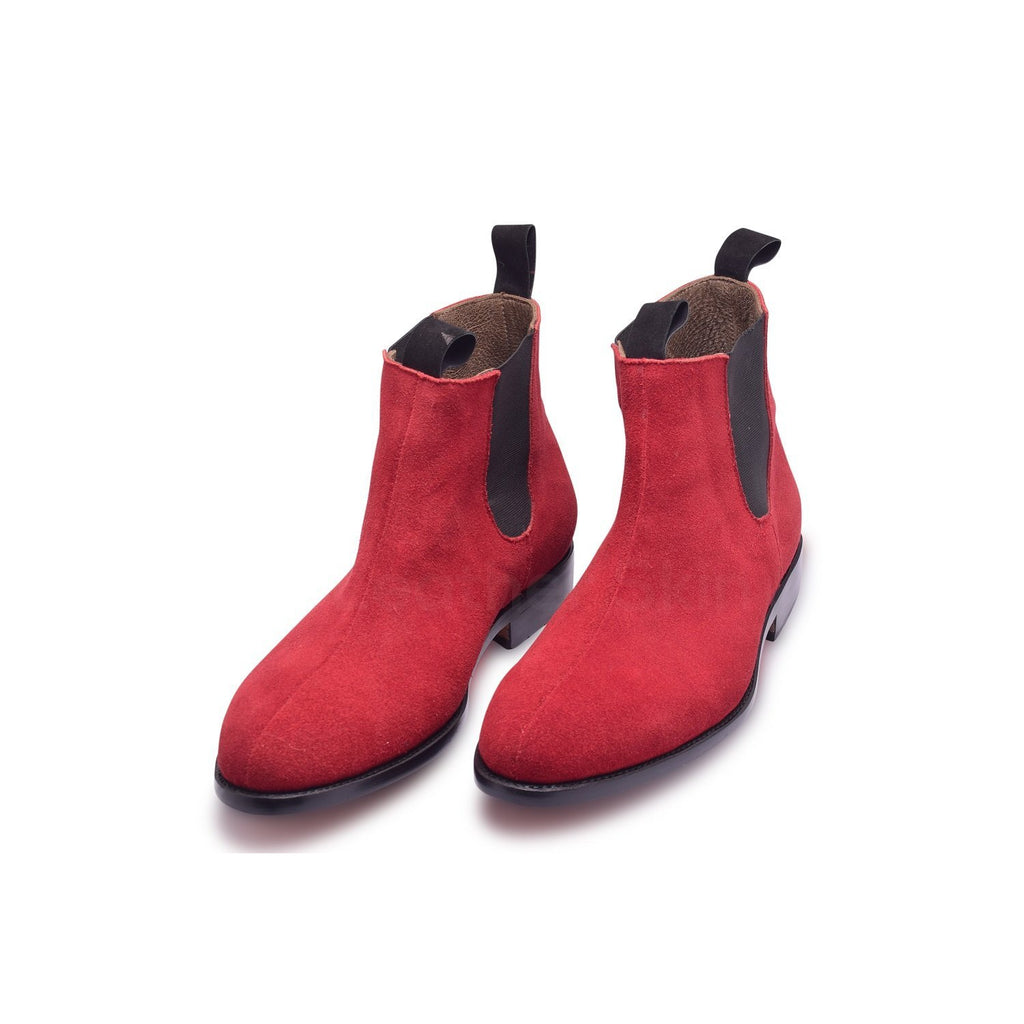 Chelsea Leather Boots Men in Red Color