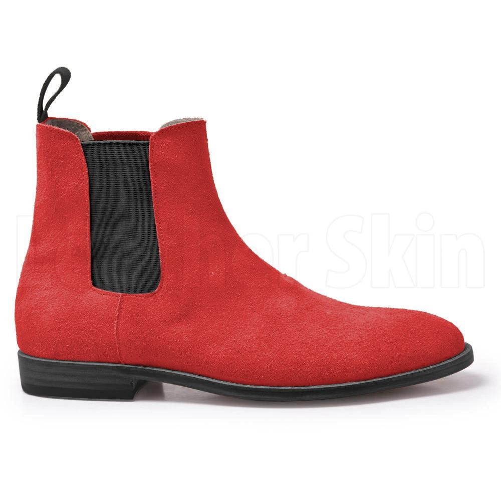 Men Red Chelsea Suede Leather Boots