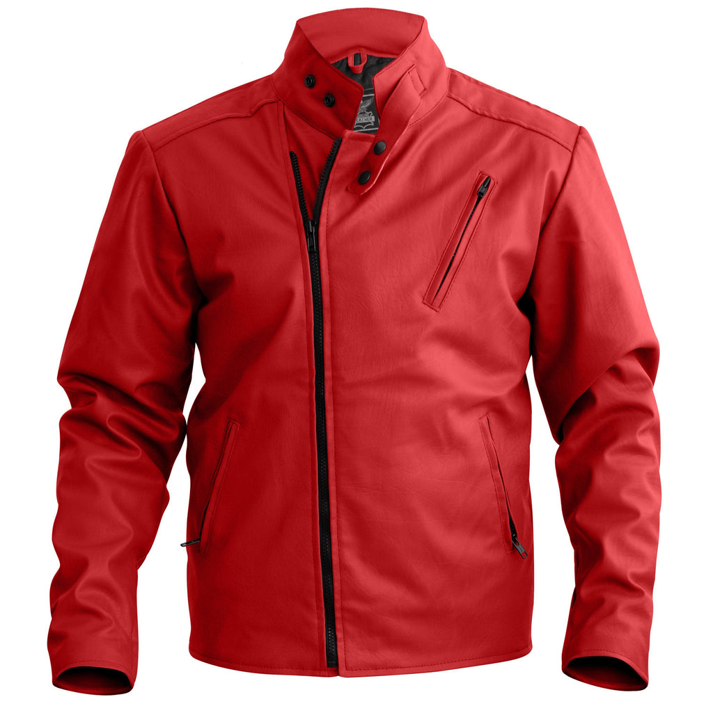 NWT Stylish Red  Men Stylish Synthetic  Leather Jacket