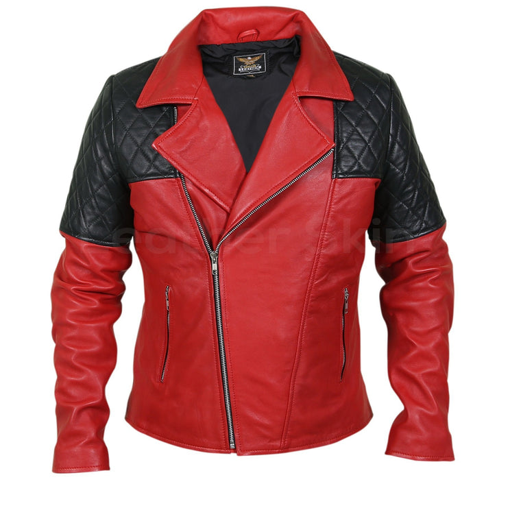 Men Red Genuine Leather Jacket with Black Diamond Quilted Shoulders