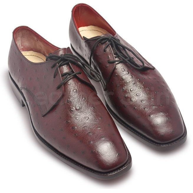 Men Red Maroon Ostrich Pattern Derby Leather Shoes