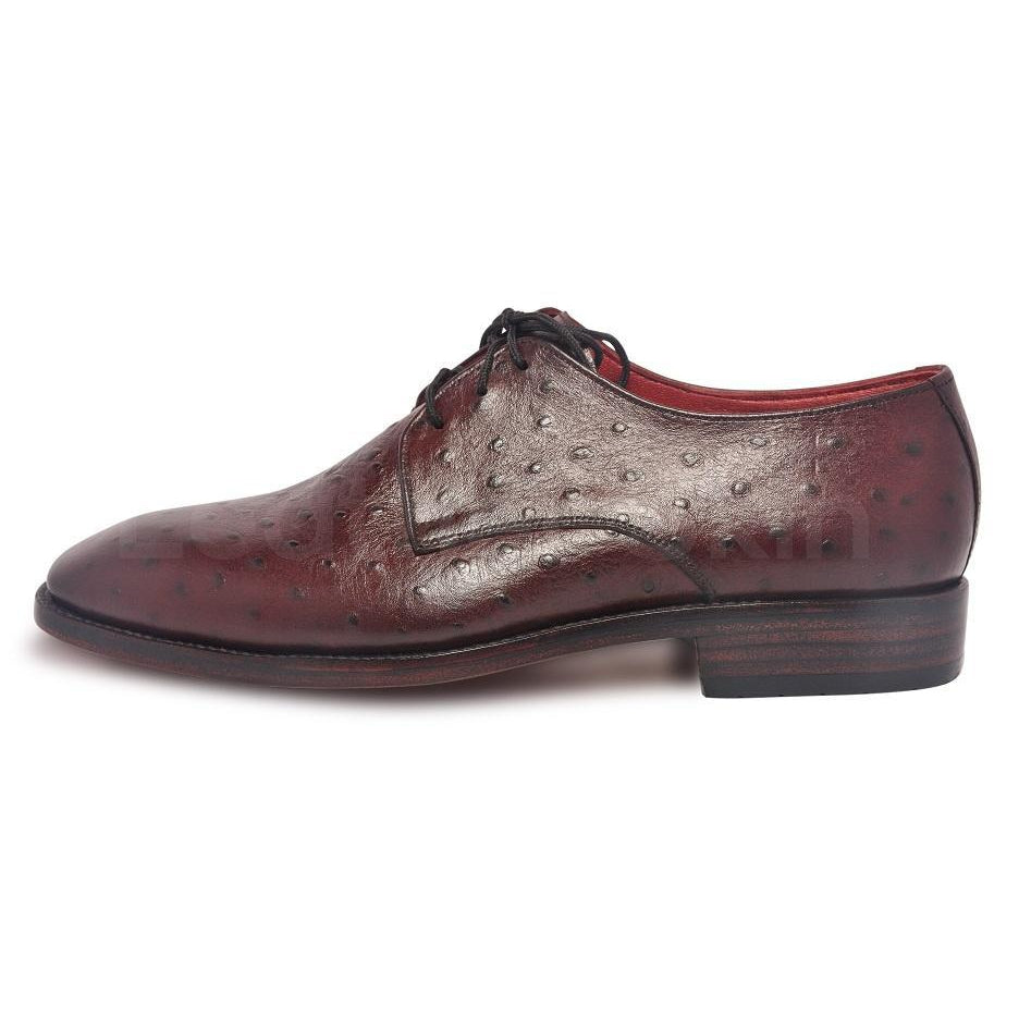 Derby Shoes with Ostrich Pattern