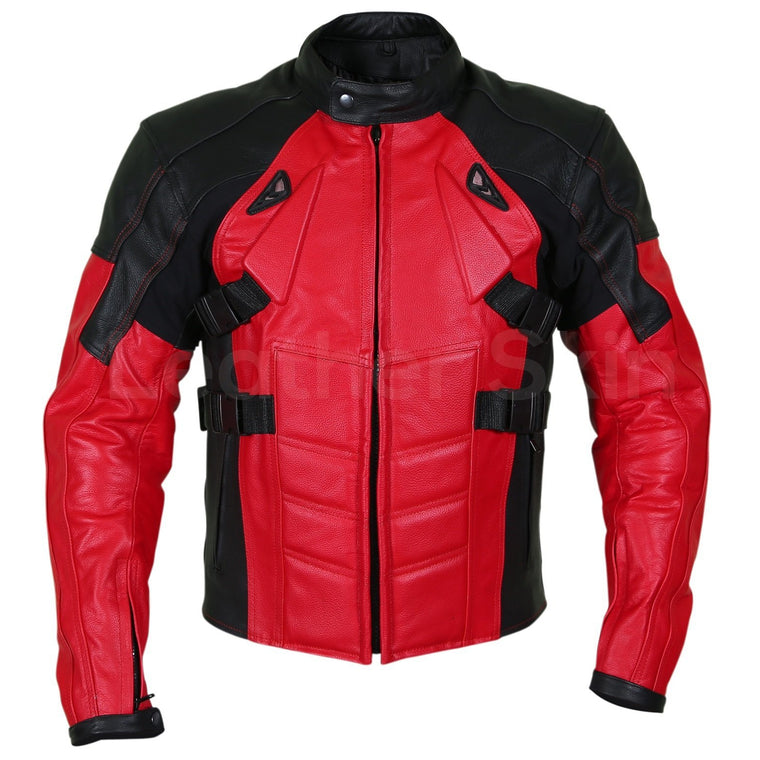 Men Red Motorcycle Padded Genuine Cow Leather Jacket
