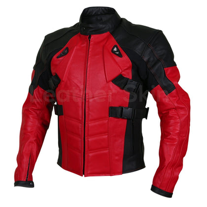 motorcycle red leather jacket mens