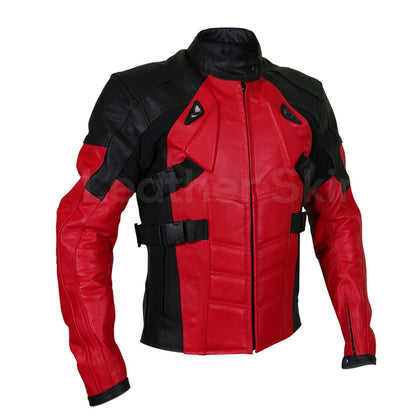red biker leather jacket with black patches