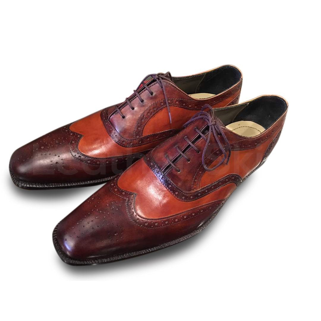 two tone brogue oxford leather shoes