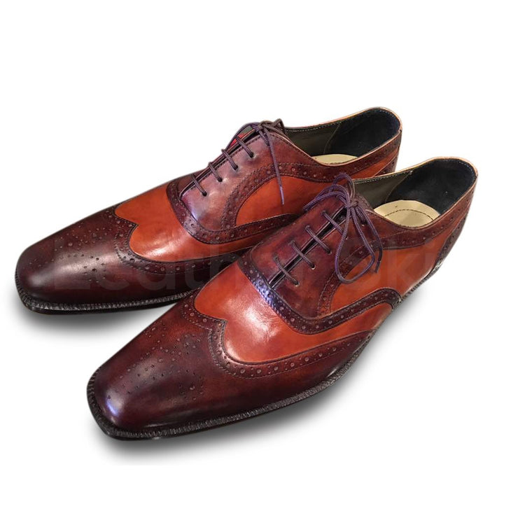 Men Red Tan Two Tone Oxford Brogue Leather Shoes