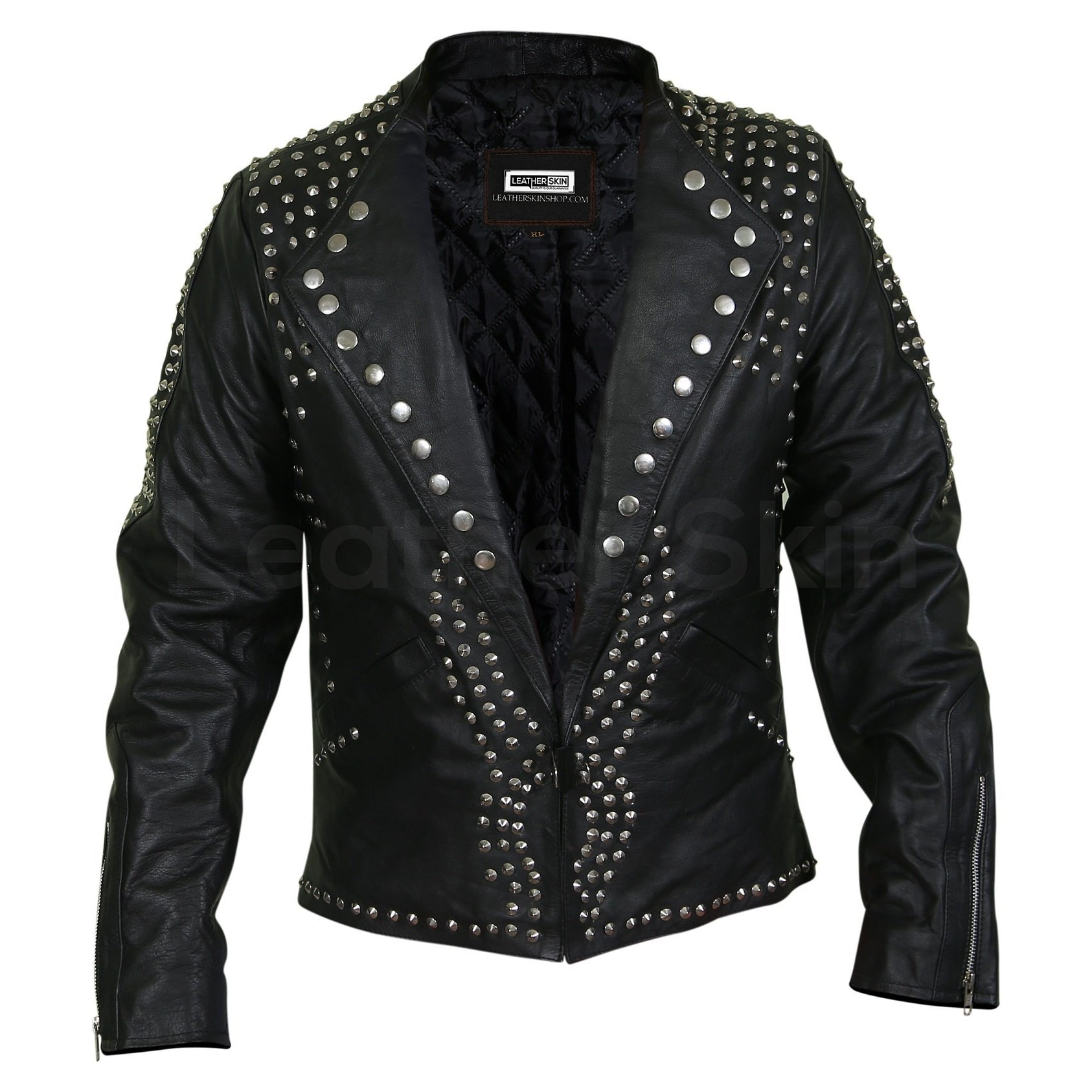 Men Black Jacket with Cone Spikes Stud on Shoulder
