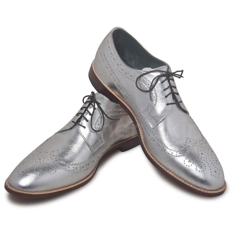 silver leather shoes men
