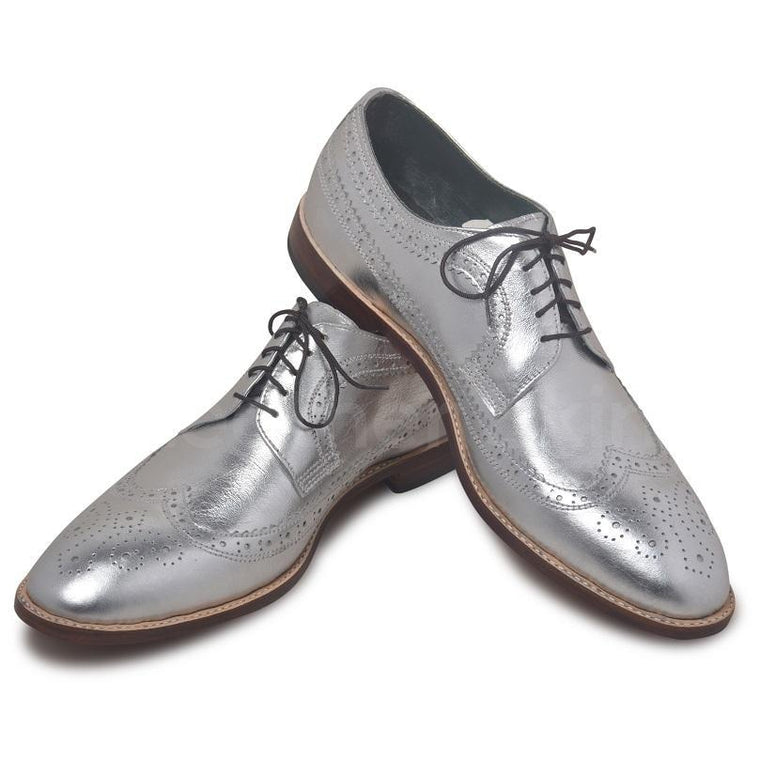 Men Silver Wingtip Brogue Derby Genuine Leather Shoes