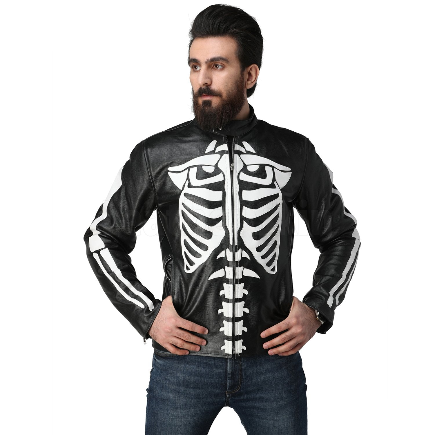 Leather Skin Men Skeleton Biker Motorcycle Genuine Leather Jacket with CE Armors