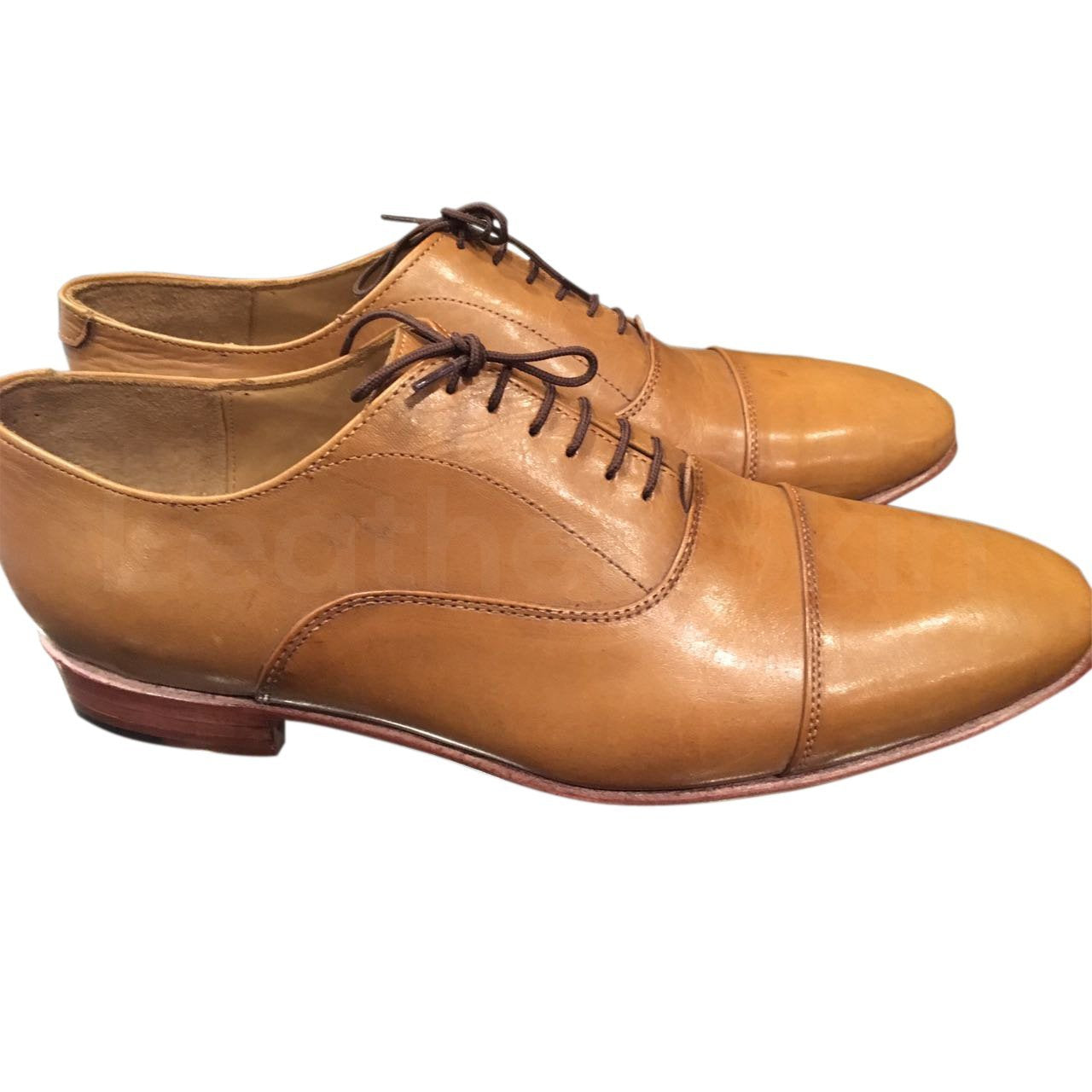 Men Light Brown Black Laces Genuine Leather Shoes