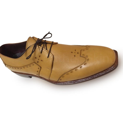 brogue tan leather shoes