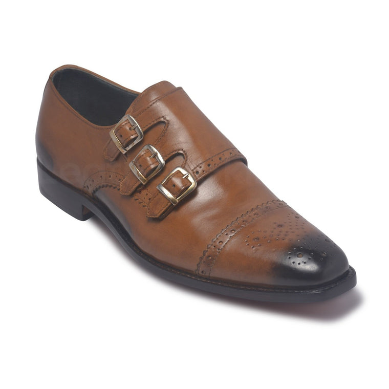 Men Three Strap Monk Two Tone Genuine Leather Shoes with Brogue Wingtip