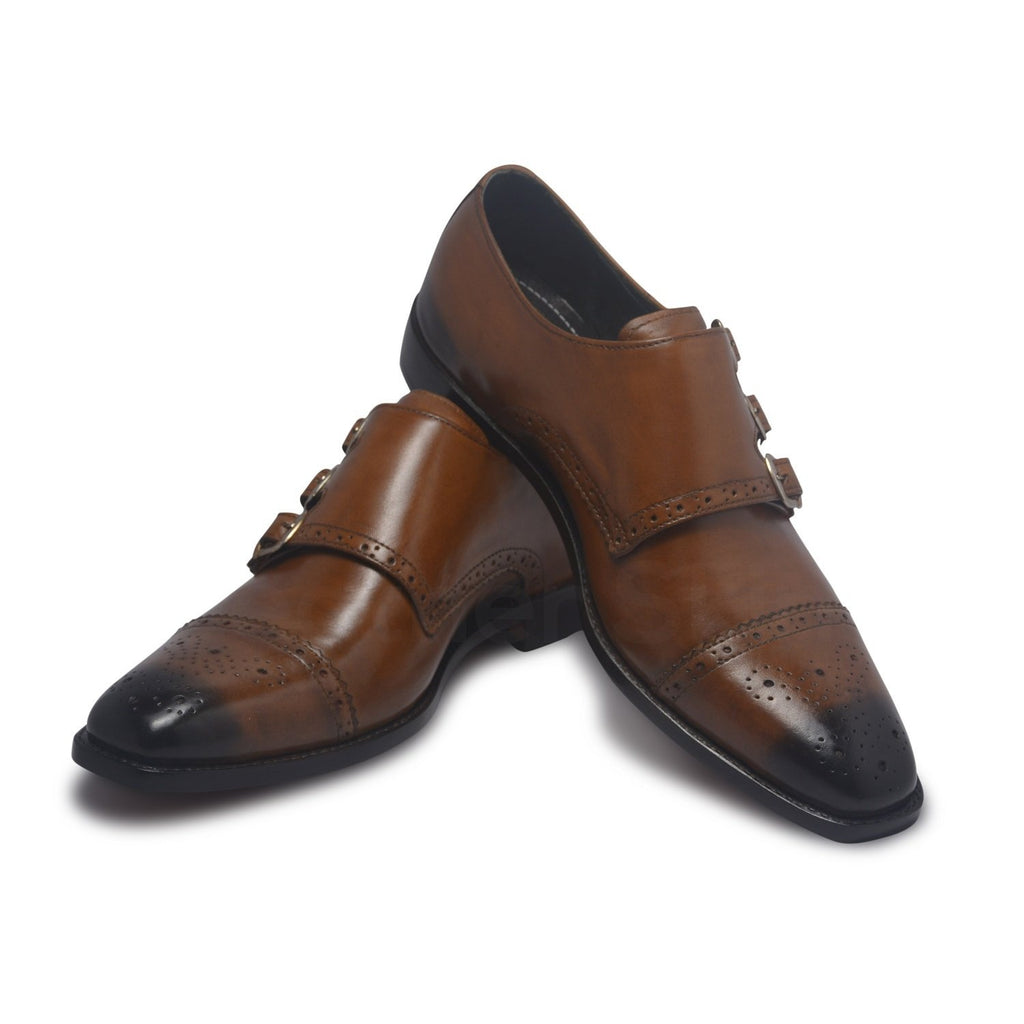triple strap mens leather shoes brown