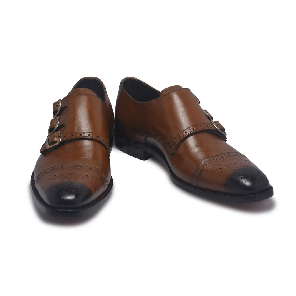 three strap two tone leather shoes mens