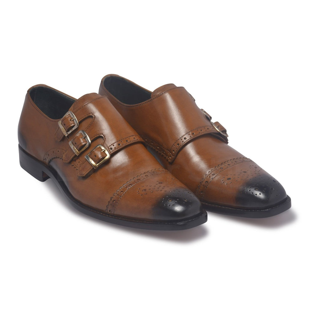 mens brown genuine leather shoes monk
