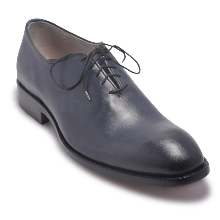 Men Two Tone Blue Leather Shoes with black laces