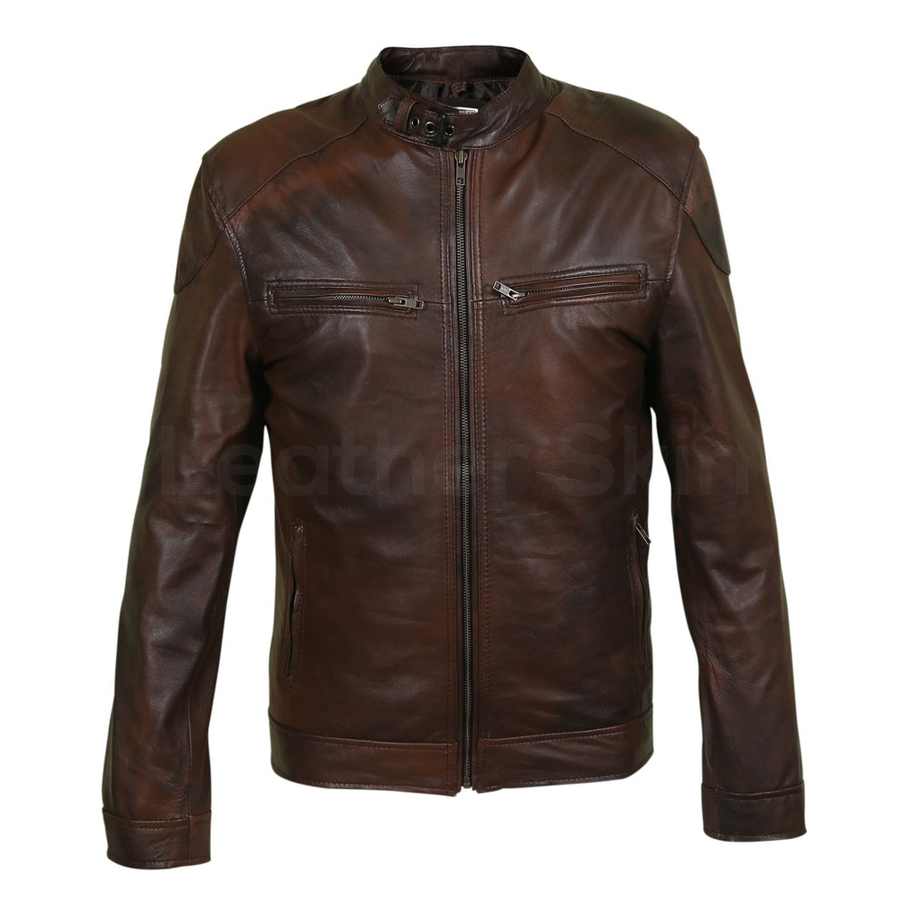 mens two tone jacket in brown