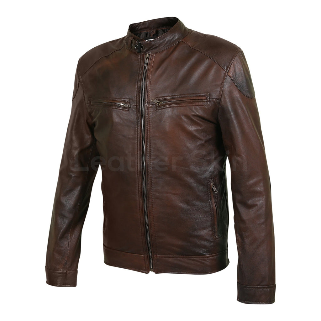 men two tone real leather jacket