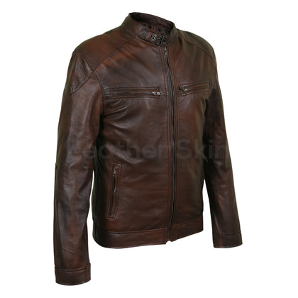 brown genuine leather jacket two tone men