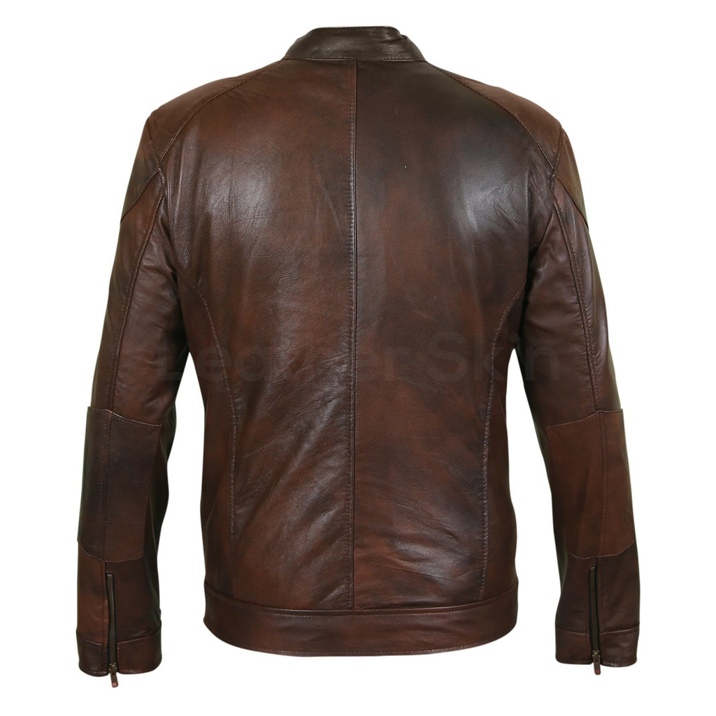 Men Two Tone Brown Biker Motorcycle Leather Jacket