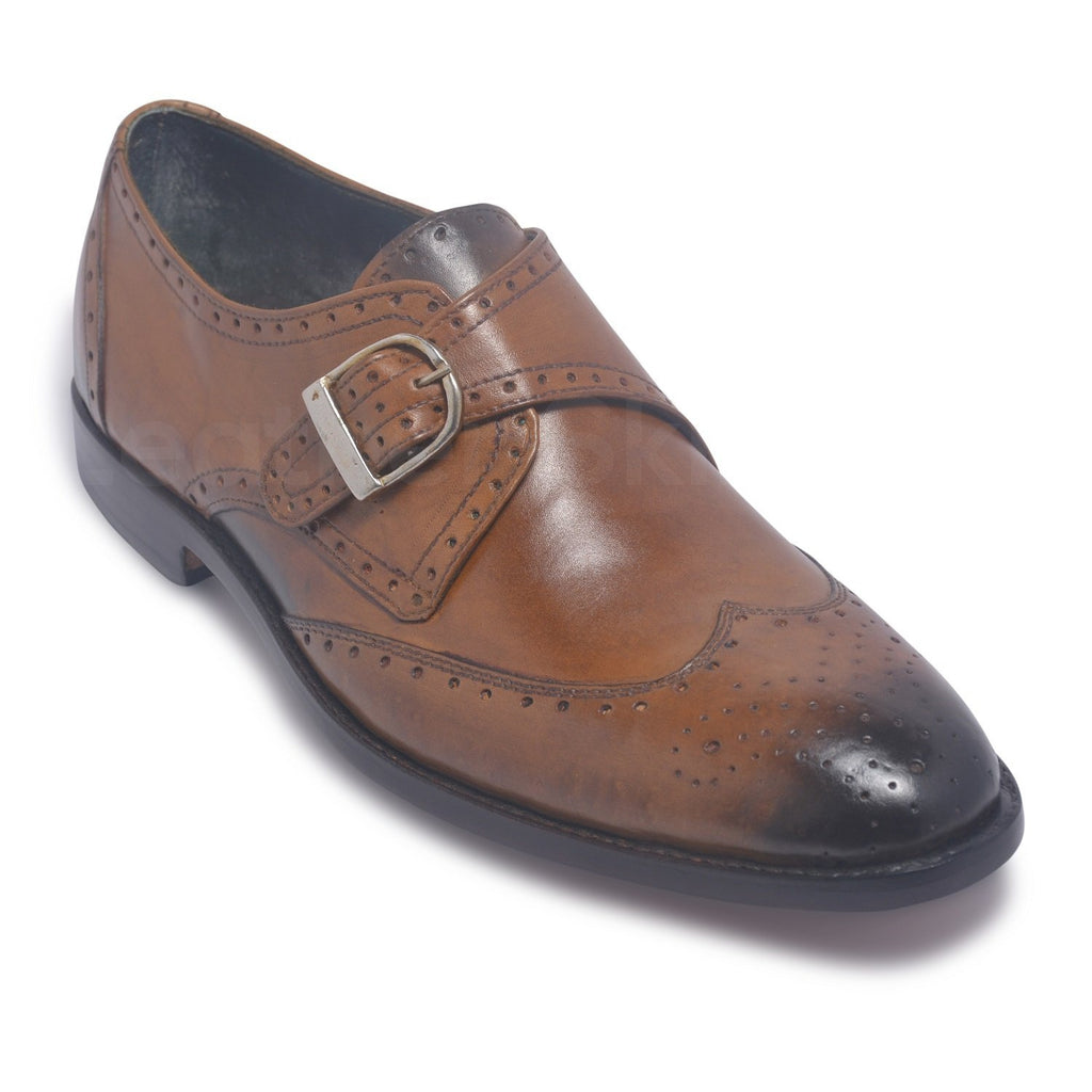single monk shoes mens brown