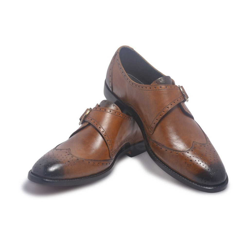 single monk genuine leather shoes two-tone