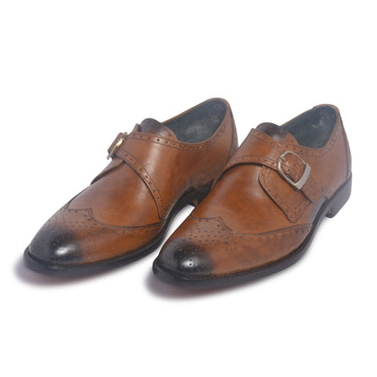 one monk shoes mens in brown color