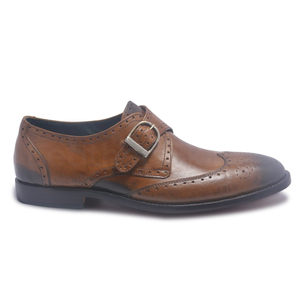 strap shoes for mens in brown color
