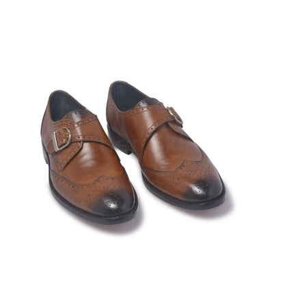 two tone strap shoes in monk style