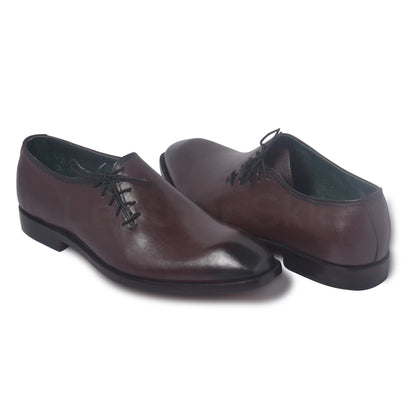 Men Two Tone Leather Shoes with Unique Lacing Closure