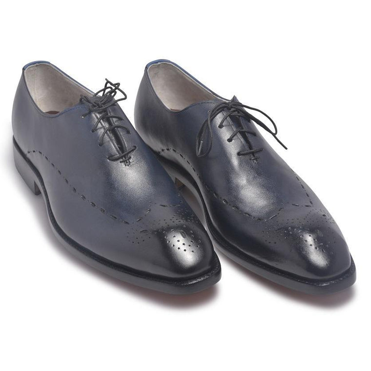 Men Two Tone Navy Blue Brogue Leather Shoes with Laces