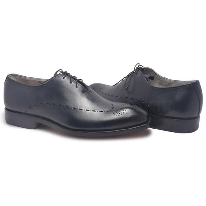 Men Navy Blue Leather Shoes