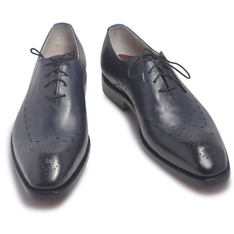 Navy Blue Brogue Leather Shoes